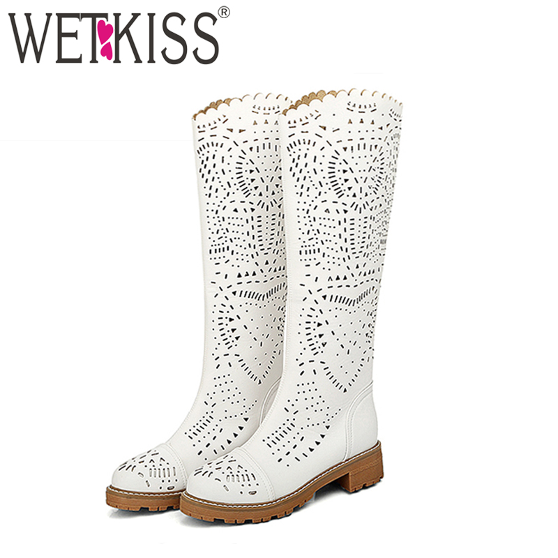 WETKISS Big Size 34-43 New Style Fashion Cutouts Summer Boots Comfort Chunky Heels Platform Summer Knee Boots Casual Shoes Woman wetkiss big size 34 43 fashion lace up platform knee boots add fur retro thick high heels skid proof fall winter shoes woman