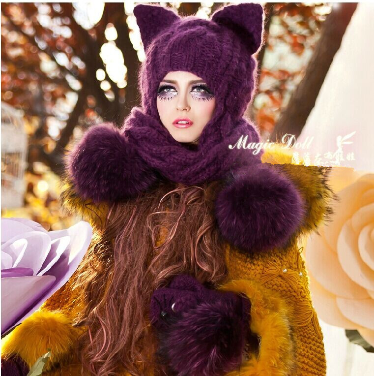 Free shipping 2014 Purple heavy hair ball earmuffs braid scarf cat ear magic Angle of wool knitted hats and gloves