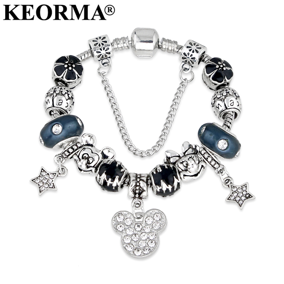 KEORMA Animal Mickey Mouse Charm Armbånd og Bangle For Women Fashion Original DIY Blue Minnie Charms Armbånd for kvinner