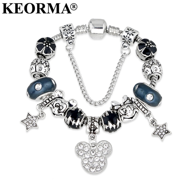 Keorma Animal Mickey Mouse Charm Bracelets Bangle For Women Fashion Original Diy Blue Minnie Charms