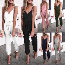 HEFLASHOR Solid Color Belt Jumpsuit New Brand Fashion Women Camisole S