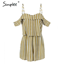 Simplee Stripe off shoulder sexy rompers Womens jumpsuit high waist summer beach playsuit 2018 Casual strap chiffon overalls