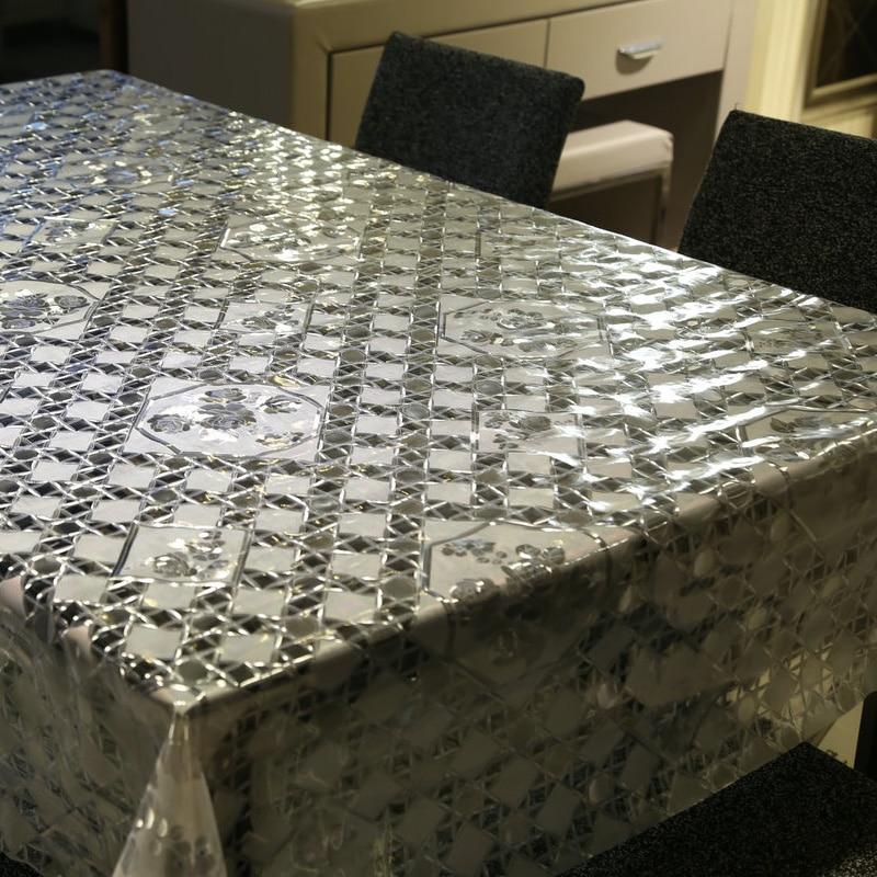 Karšto pardavimo baltas ir skaidrus plaid stalo audinys PVC aliejus - Namų tekstilė - Nuotrauka 5