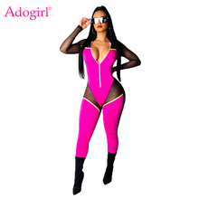 Adogirl Sheer Mesh Color Patchwork Women Bandage Jumpsuit Zipper Deep V Neck Long Sleeve Fashion Sexy Romper Clubwear Bodysuits