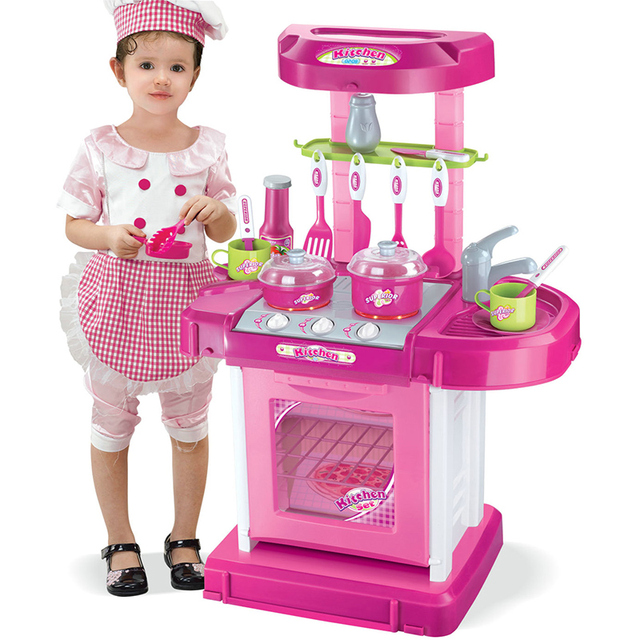 c1cf59079765 Kids Play House Girl Pretend Play Tableware Sets Toys Kitchen Cooking  Simulation Miniature Kitchen Toys for children Xmas Gifts