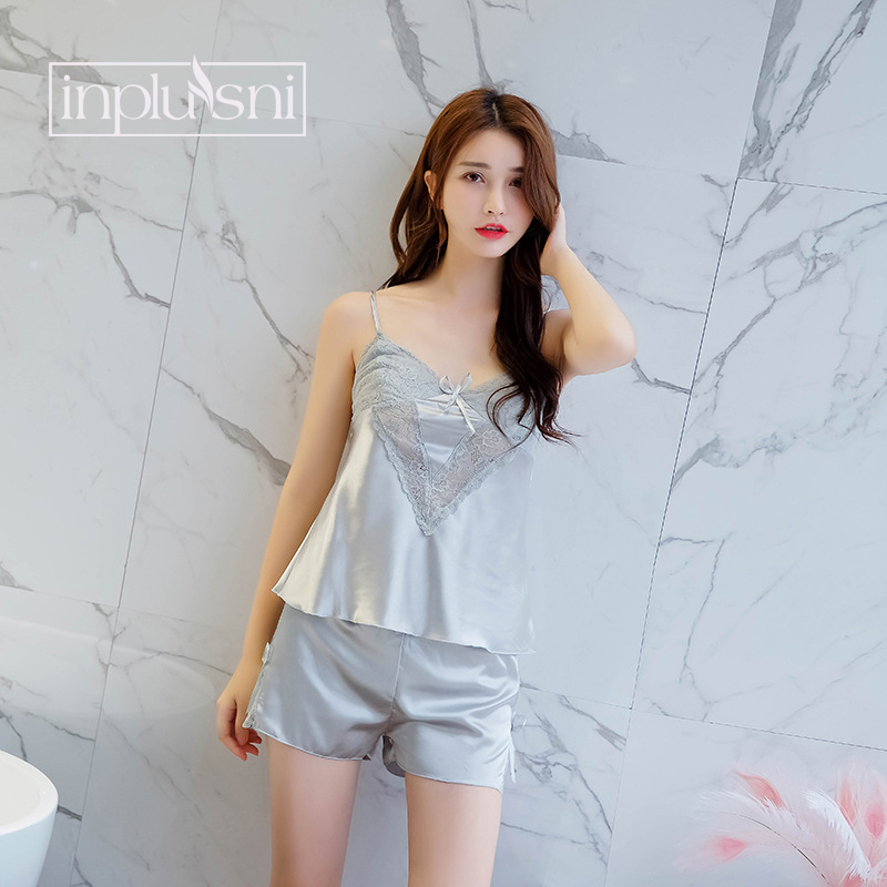 0a1ad4973 Inplusni women pajama sets ice silk sleep shirt shorts lace two piece suit  homewear faux silk female sleep top and sleep bottoms-in Pajama Sets from  ...