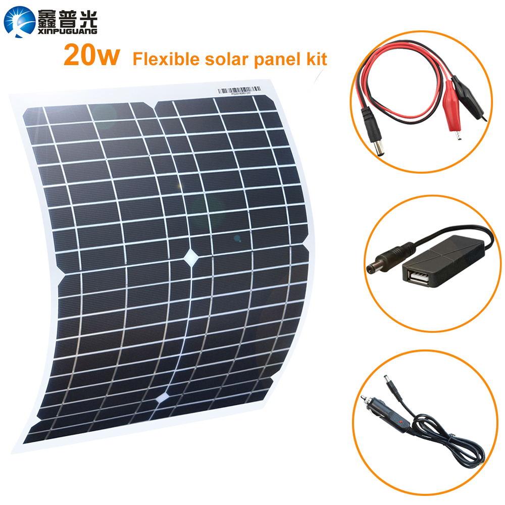 Xinpugaung Flexible Solar Panel 20W 18V Portable Waterproof Charger home USB for 12V Battery Car phone