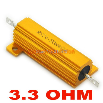 (20 pcs/lot) 3.3 OHM 50W Wirewound Aluminum Housed Resistor, 50 Watts.
