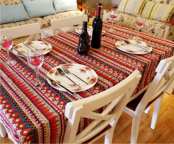 Bohemia Style Printed Geometric Cotton Linen Table Cloth Restaurant Party Rectangular Tablecloth Square Table Cover 1033ZB