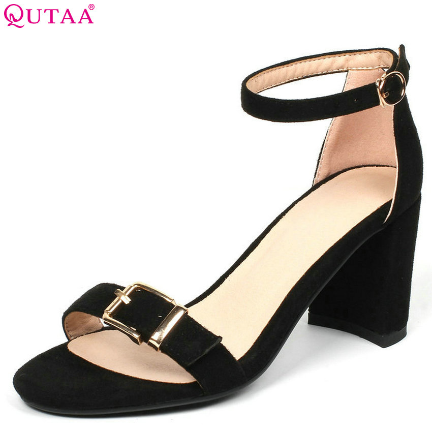 QUTAA 2018 Women Sandals Flock Square High Heel Round Toe Fashion Women Shoes Platform Buckle Black Women Sandals Size 34-43 xiaying smile summer new woman sandals platform women pumps buckle strap high square heel fashion casual flock lady women shoes page 7