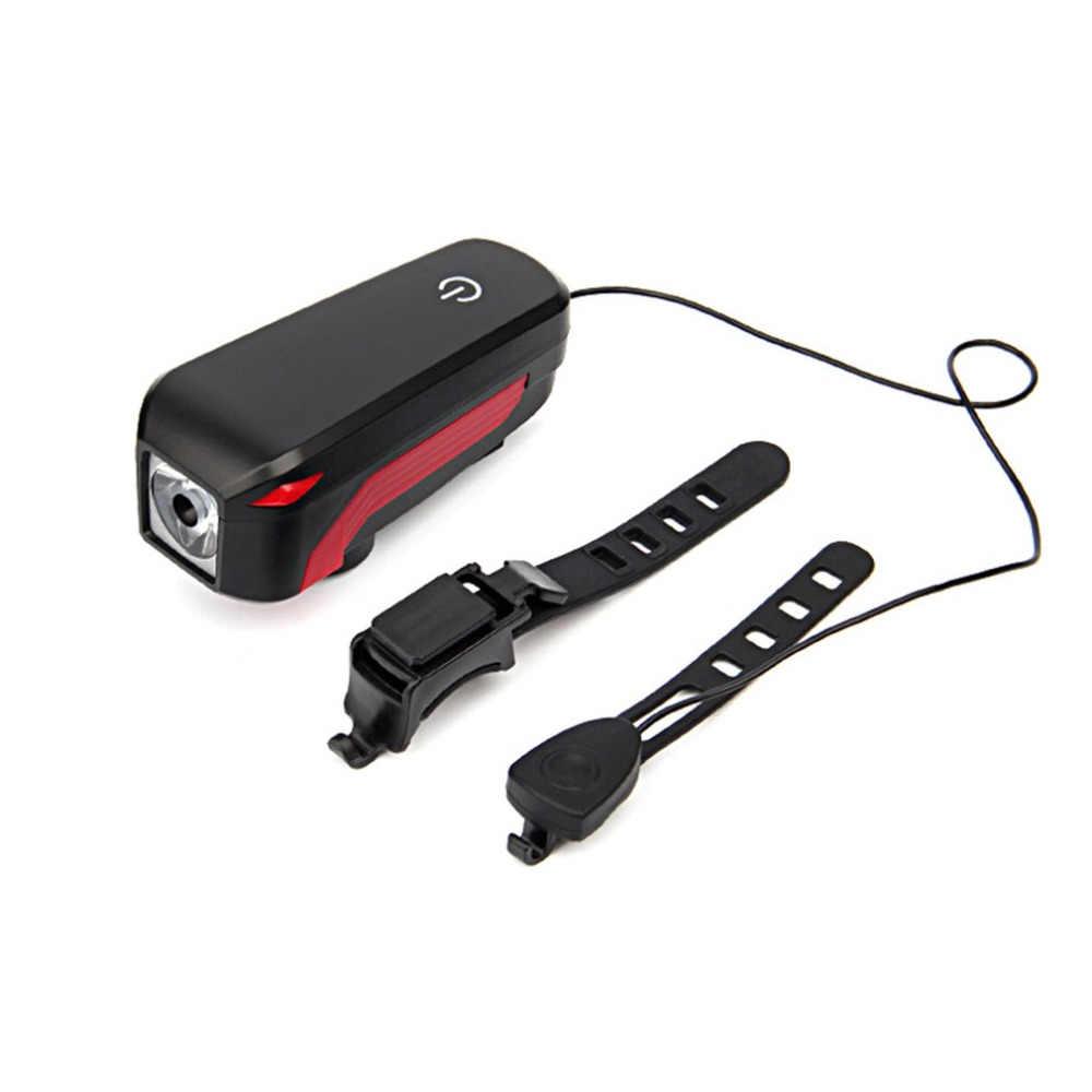 سوبر مشرق إضاءة أمامية للدراجة USB قابلة للشحن إضاءة مقاومة للماء الدراجة مسة خفيفة التبديل ضوء مع 5 نغمات إنذار جرس القرن جديد