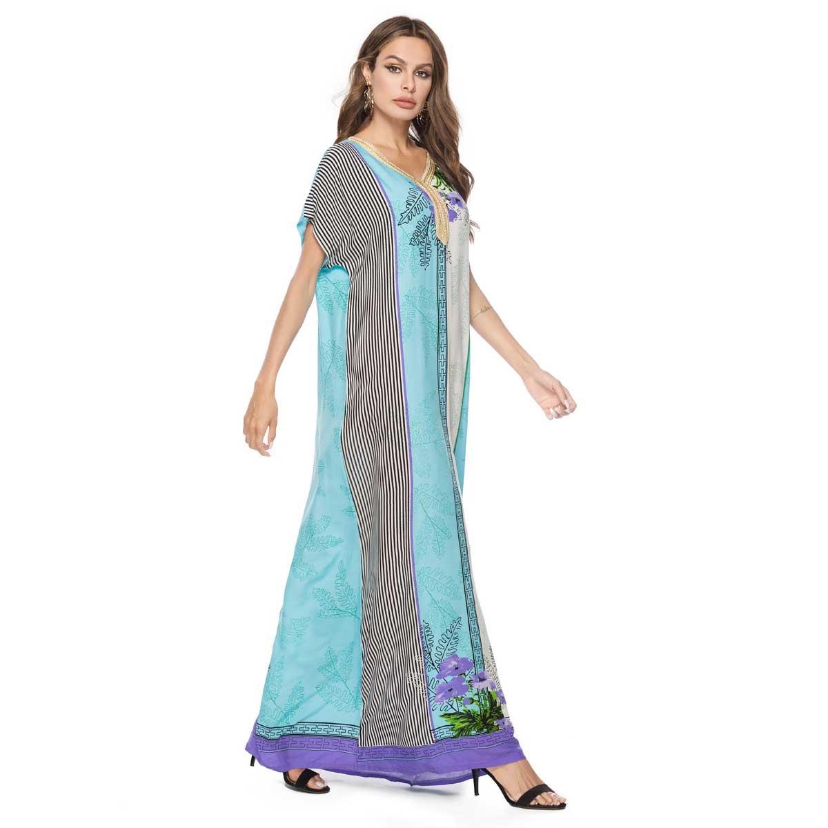 03098c46feb8f US $19.99 25% OFF|2019 Summer Embroidery Patchwork Maxi Bohemian Dress  Short Sleeve Print Muslim Abaya Arab Islamic Dubai Robe Plus Size  VKDR1554-in ...