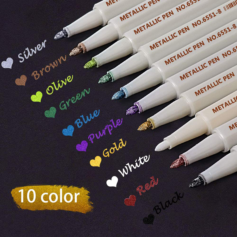 STA 10 Colors Metallic Marker Pen DIY Scrapbooking Crafts Soft Brush For Drawing DIY Photo Album Scrapbooking Crafts Card Making