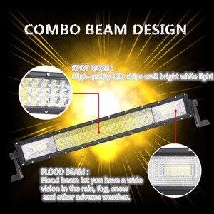 """Image 5 - 22 """"34"""" 42 """"50 pouces Tri rangée barre de lumière à LED incurvée pour SUV ATV Uaz UTV 4x4 12V bateau camion tout terrain Combo poutres Barra lampes de travail"""