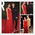 Best Selling Selena Gomez Celebrity Dresses V Neck Red Chiffon Long Evening Gowns 2016 Free Shippiing