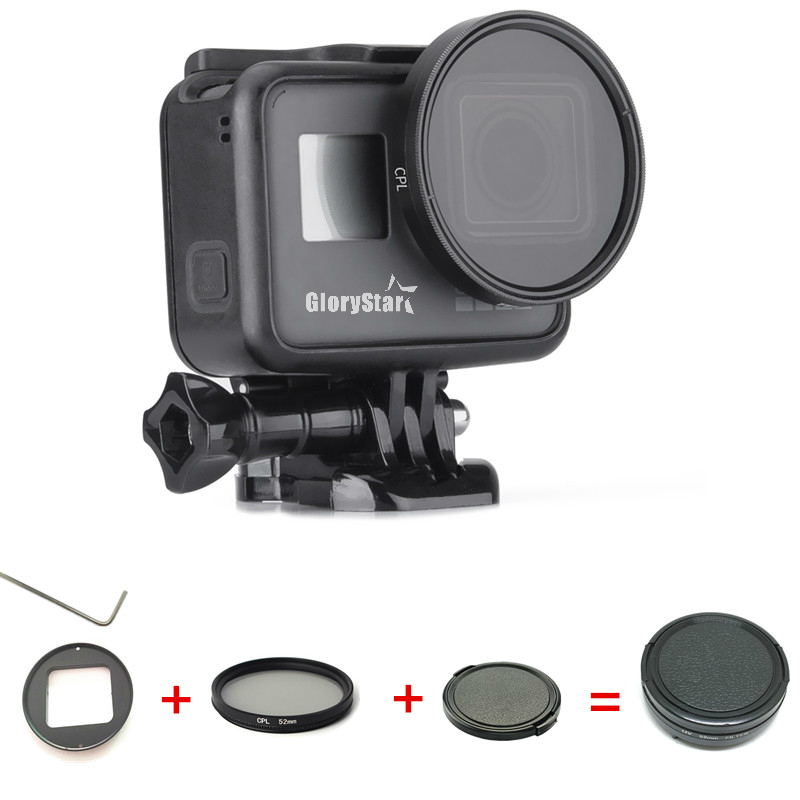 Aluminum Polarizing Filter Circular Polarizer Filter CPL Lens Filter + Lens Cap for GoPro Hero 5 Hero 6 Photography Accessories