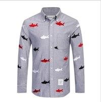 TB191 Spring Autumn Men S Shirt Long Sleeve Brand Tace Shark Dress Shirt Men Slim Fit