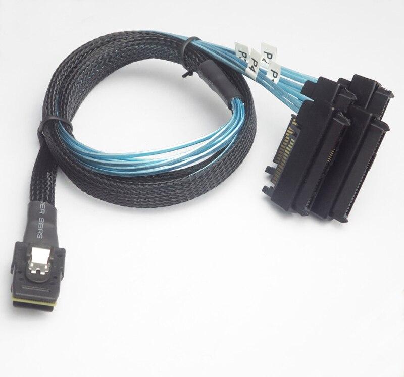 Livraison gratuite 6G Mini SAS 36 P SFF-8087 à 4 SFF-8482 29 P connecteurs avec câble d'alimentation SATA 50 cm