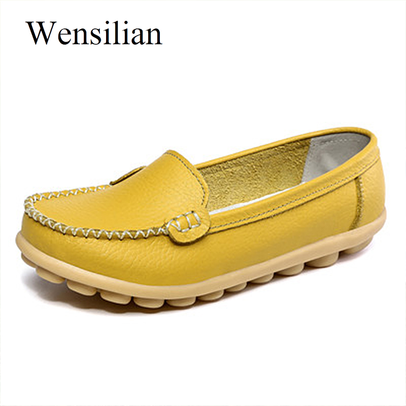 Summer Ballet Flats Women Leather Flat Shoes Slip On Loafers Women Soft Anti Slip Ladies Casual Shallow Shoes Chaussure Femme цены онлайн