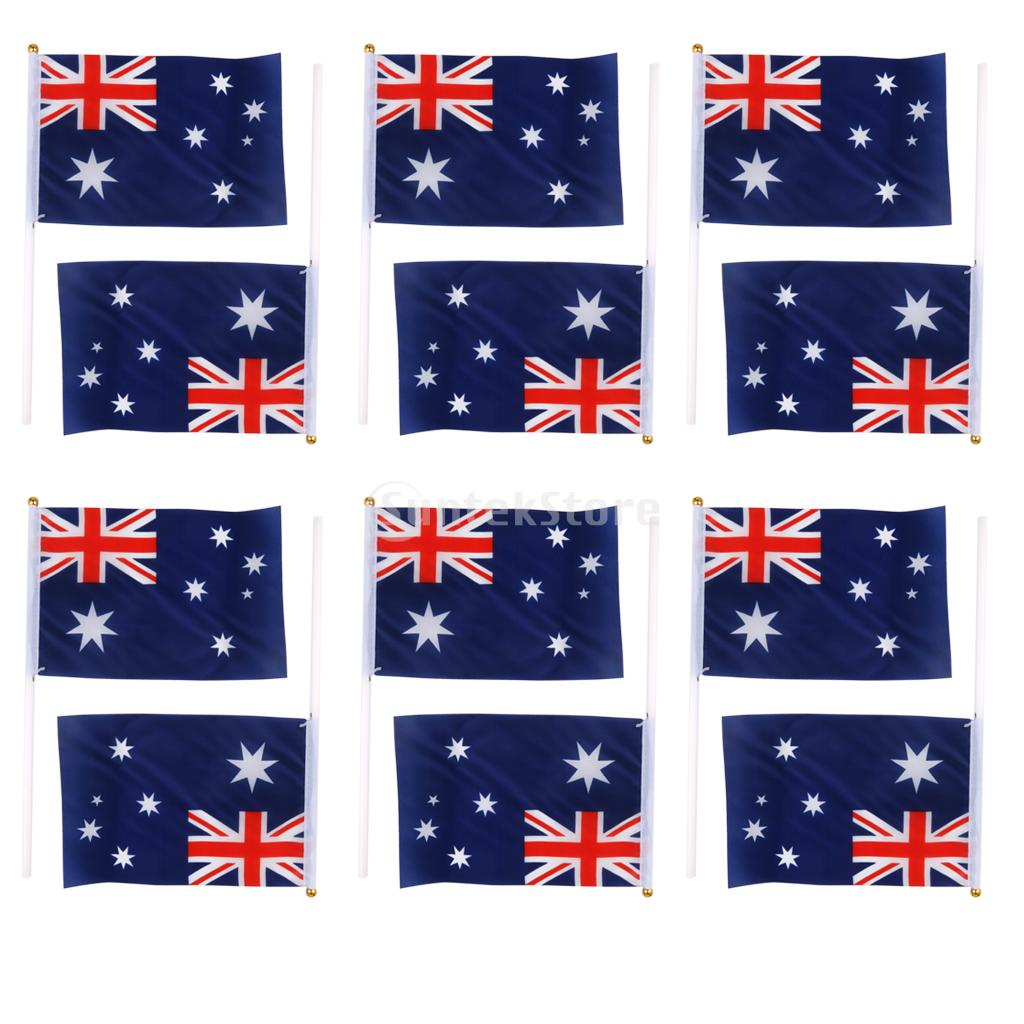 10pcs lot national flag country flag stick flags flag of the united - Australian Flag Australia National Flags Hand Waving Flag With Poles 12pcs China