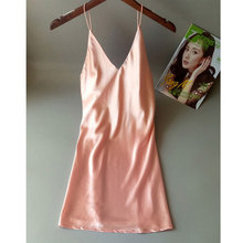 2019 new sexy Nightgown women silk straps nightdress home clothing Siamese deep V dress temptation backless plus size