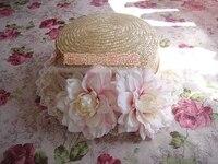 נסיכה מתוקה לוליטה יפני כפר ביג פרחי בר ורדים בר כפר טרי כובע קש כובע רשמי MSG MZ026