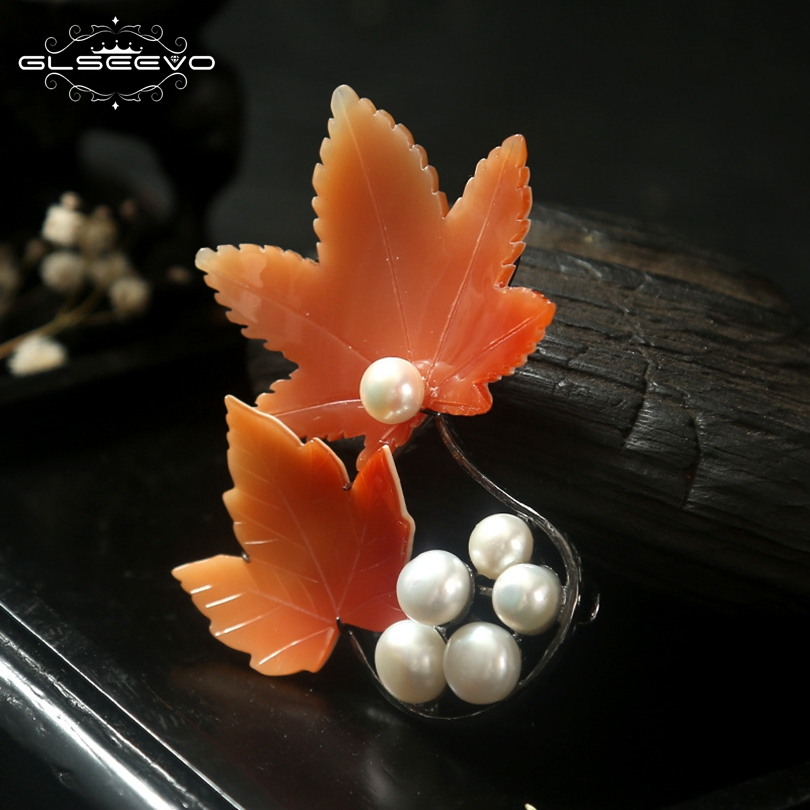 GLSEEVO Natural Fresh Water Pearl Cypraecassis Rufa For Women Gift Brooch Pins And Brooches Dual Use Luxury Fine Jewelry GO0121 glseevo natural rhodochrosite fresh water pearl leaf brooch pins and brooches for women gift dual use luxury fine jewelry go0185