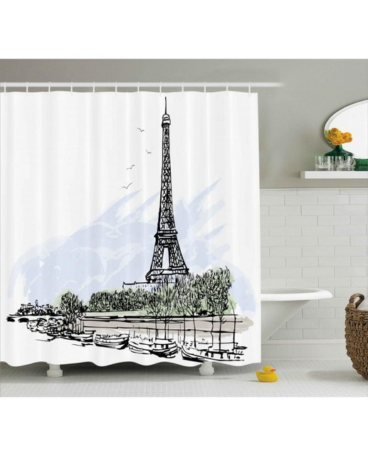Paris Shower Curtain Eiffel Tower Birds Trees Print For BathroomWaterproof And Fabric Washable Set With Hooks