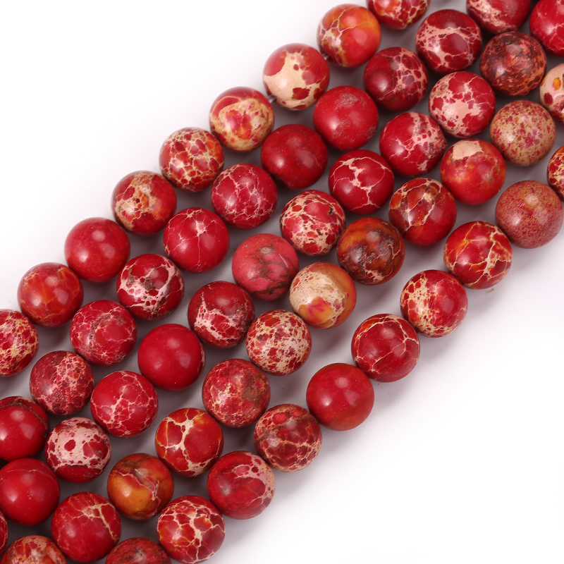 Wholesale Natural Stone Red Round Beads 15 quot Strand 4 6 8 10 12mm Pick Size For charm Handmade Jewelry Making DIY Bracelets in Beads from Jewelry amp Accessories