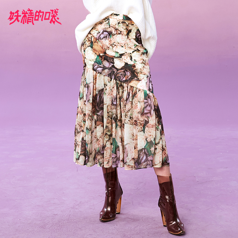 ELF SACK Winter New Woman Skirts Casual Print A line Oversized Women Skirt Knee Length Loose