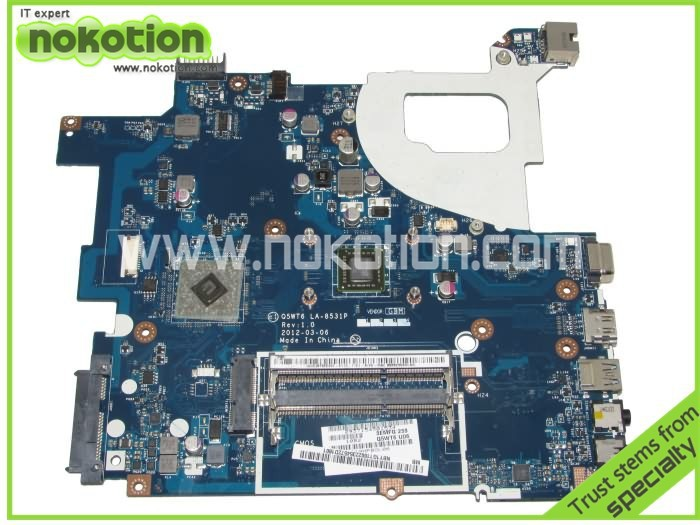 NOKOTION Q5WT6 LA-8531P NB.Y1G11.002 NBY1G11002 Laptop motherboard For Acer Aspire E1 521 CPU Onboard DDR3 warranty 60 days nokotion laptop motherboard for acer aspire v5 171 intel i3 2377m 1 5ghz cpu onboard ddr3 nbm3a11005 nb m3a11 005 la 8941p