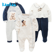 Kavkas/Одежда для маленьких девочек; зимние теплые комбинезоны с длинными рукавами; пижамы для сна с принтом медведя; Bebes Menina