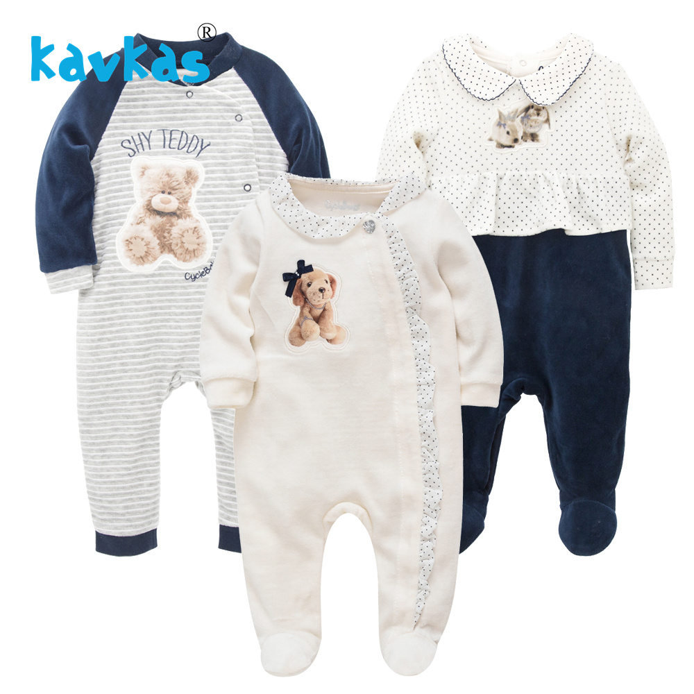 Kavkas roupas da menina do bebê inverno quente manga longa macacão urso impressão dormir pijamas bebes menina