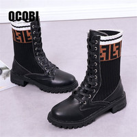Ladies Martens Women's Boots Autumn Winter New Fashion Casual Martin Boots Letters Knitted Socks Lace Up Flats Boots