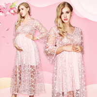 Maternity Photography Dresses Pregnant Women Fancy Lace Floral Embroidery V Neck Dress Pink Maternity Clothes For Photo Shoot