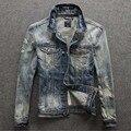 Hitz ретро мыть джинсовые куртки Тонкий джинсы мужской прилив мужские куртки