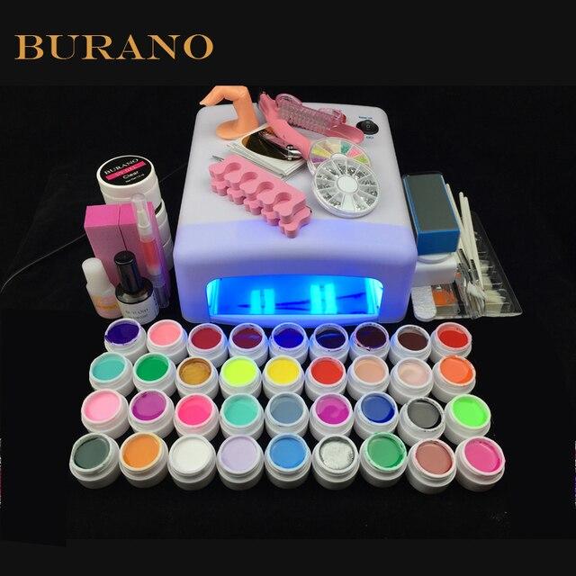 36 Colors UV Gel polish nail tools set nail kit brush nail power manicure set 008# white lamp