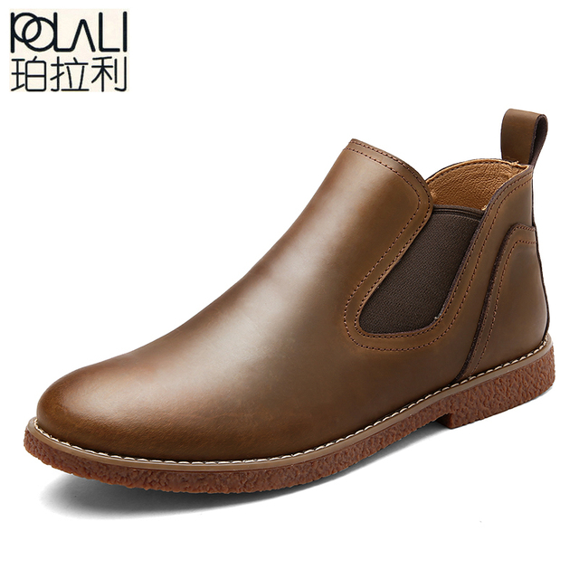 Polali Brand Men Chelsea Boots 2017 Genuine Leather Clic Business Office Formal Ankle