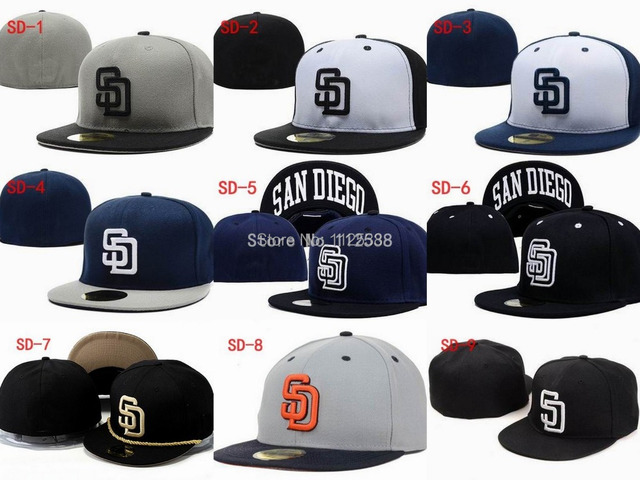 96f9a7ba1ef4ed Retail brand fitted baseball team hats styles sports hats San Diego Padres  embroidery baseball caps 1pc free shipping SD200