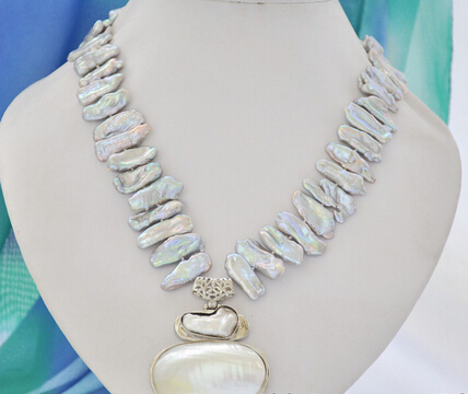 FREE SHIPPING>>>@@ AS4528 gray biwa dens freshwater pearl necklace mabe pendant 17inch