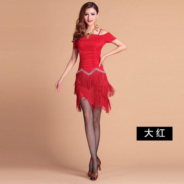 5a7c23d6355 Professionelle Frauen Latin Kleid Heißer verkauf Sexy Quasten Rumba Jive  Chacha Ballroom Latin Tanzkleid Salsa Kleid