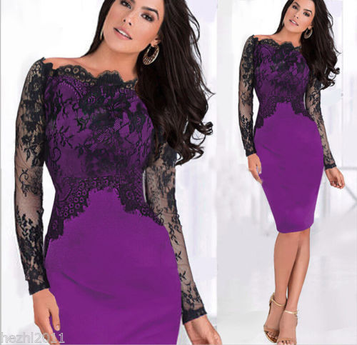 <font><b>2015</b></font> <font><b>Sexy</b></font> Women Classy Lace Off Shoulder Pencil Dress Slim Formal Cocktail Prom Party Dress image