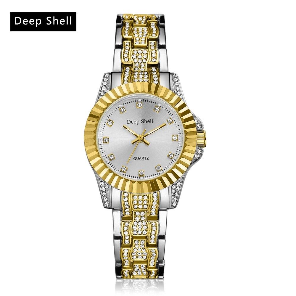 reloj dama Deep Shell Wristwatch Women Exquisite Gold Quartz Watch Top Luxury Brand Diamond Casual Clock