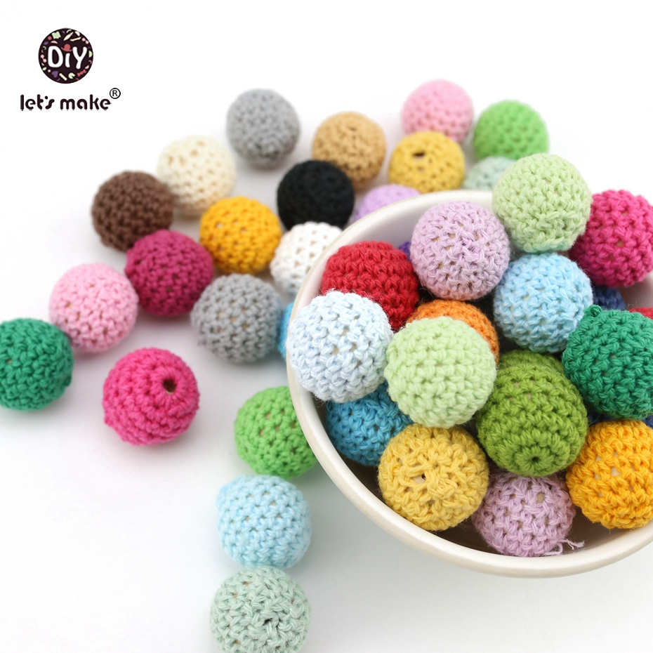 Lets Make Baby Teether Crochet Beads 60pc 20mm Wooden Teether Infant Car Hanging Baby Stroller Accessories Pacifier Clip Timber