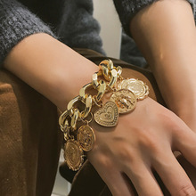 Punk exaggerated chain coin retro hand ornament female character relief figure geometric Bracelet