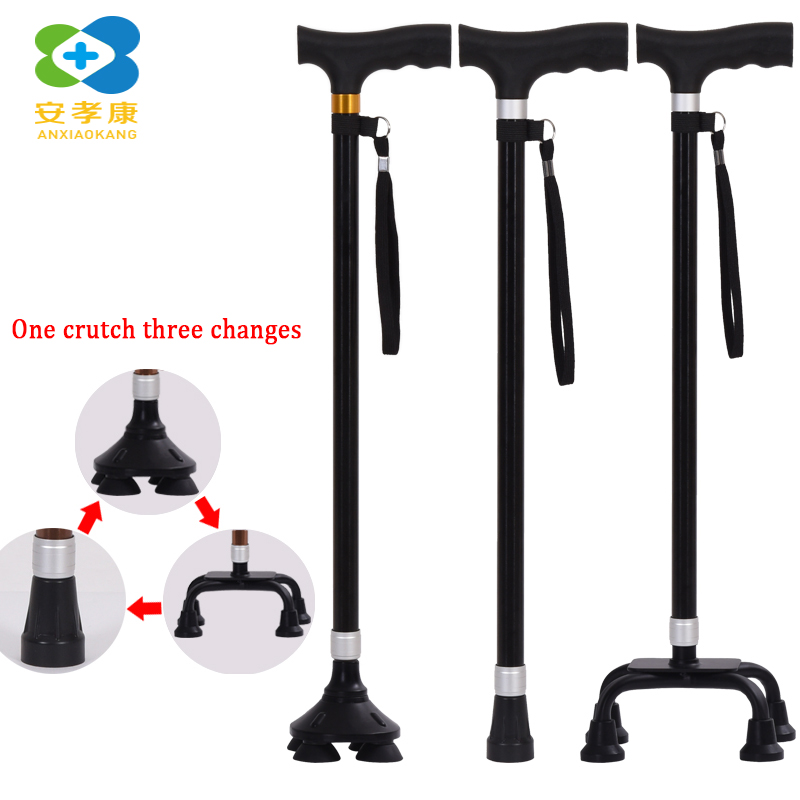 ANXIAOKANG T handle Black Walking Sticks Aluminum Alloy Trekking Hiking Poles Trekking Poles For Disabled And Elderly
