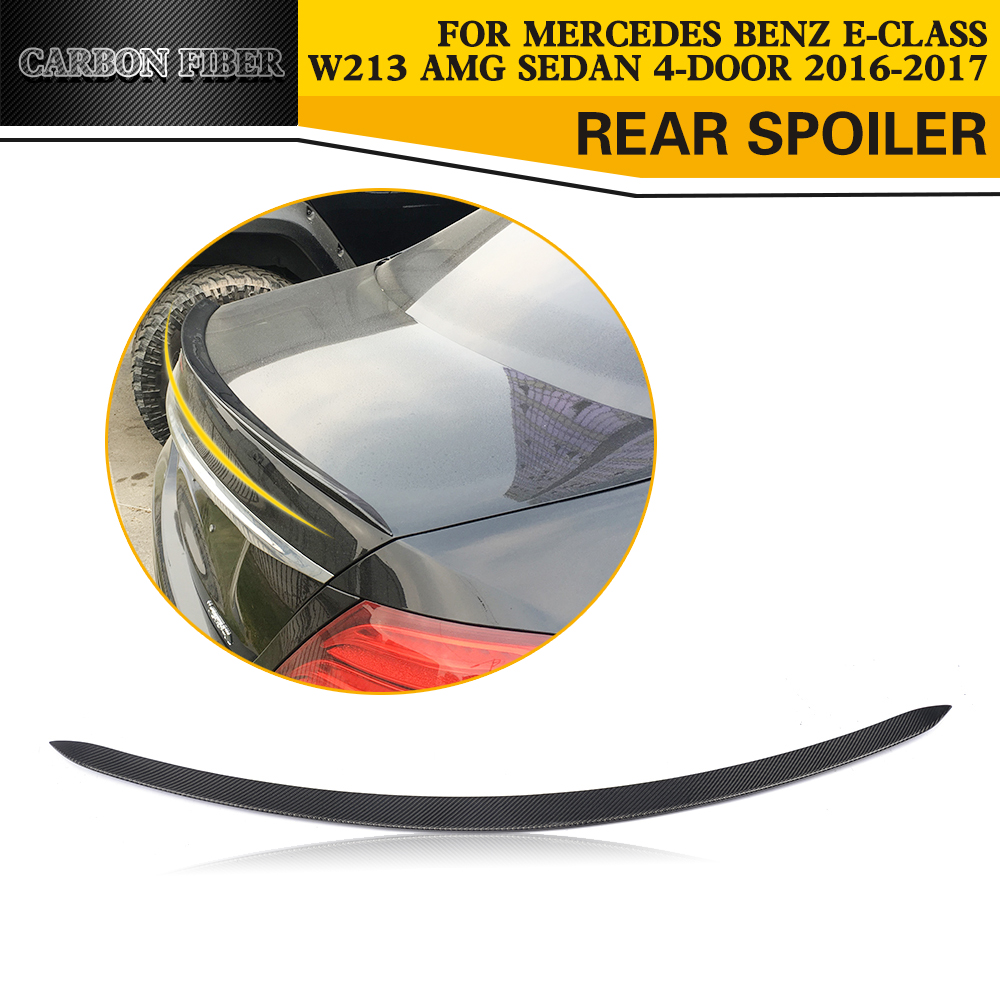 Carbon Fiber Rear Trunk Spoiler Lip Wing for Mercedes-Benz E-Class W213 4-Door 2016 2017 mercedes carbon fiber trunk amg style spoiler fit for benz e class w207 2 door 2010 2015 coupe convertible vehicles