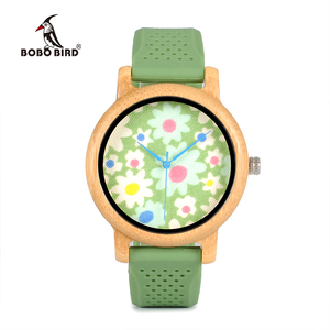 Image 2 - BOBO BIRD WB04 Fashion Causal Bamboo Watch with Fabric Dial Ladies Wood Watches With Soft Silicone Straps Quartz Watch With Box