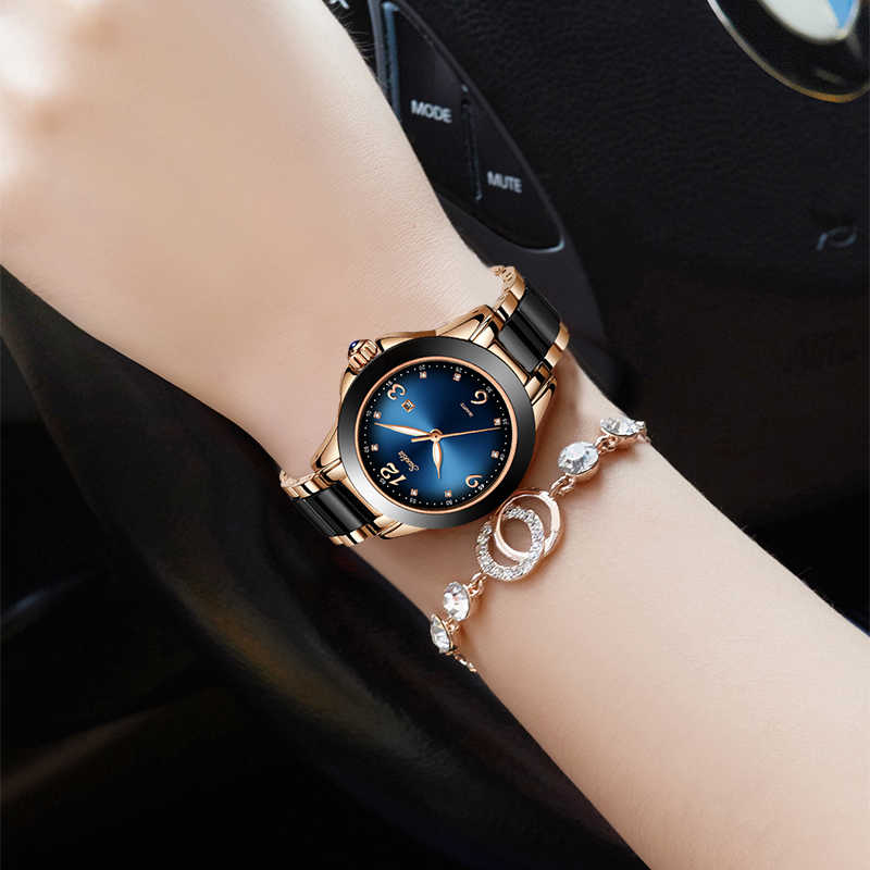 SUNKTA แฟชั่นผู้หญิงนาฬิกาข้อมือสุภาพสตรีแบรนด์หรู Rhinestone เซรามิคนาฬิกาควอตซ์ผู้หญิงกันน้ำสีฟ้าสร้อยข้อมือนาฬิกา