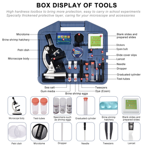 Image 3 - 100X 1200X Kids Beginner Biological Microscope metal body with phone holder adapter Plastic Slides and Carrying Box